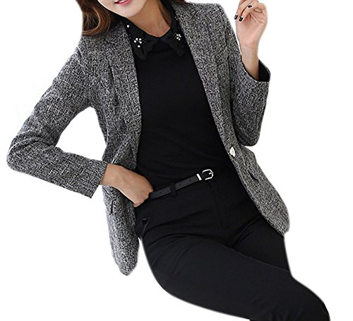 Cotton Linen Blazer (Lingswallow Women's Classic Plus Size Cotton Linen Office Blazers Suit Jacket Grey)