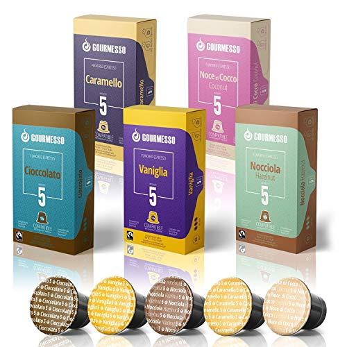 50 Fairtrade Flavored Espresso Capsules Compatible with Original Line Nespresso Pod Machines   Caramel Vanilla Chocolate Hazelnut Coconut Flavored Espresso Pods for Nespresso Capsule Machines