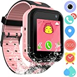 Waterproof GPS Tracker Watch for Kids - IP67 Water-Resistant Smartwatches Phone with GPS/LBS Locator SOS Camera Voice Chat Games for Back to School Children Boys Girls (04 S7P)