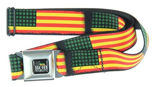 Bob Marley Seatbelt Belt (Leaves & Stripes)-Holds Pants Up
