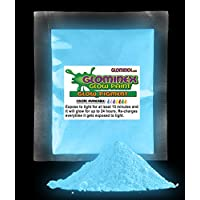 Glominex AD235, 1 Oz, Blue Glow Pigment, Glow in The Dark Paint Pigment, Glowing Paint Powder, Glow Paint Pigment, Glow Party Supplies, Glow Body Paint for Concerts, Rave and Night Parties