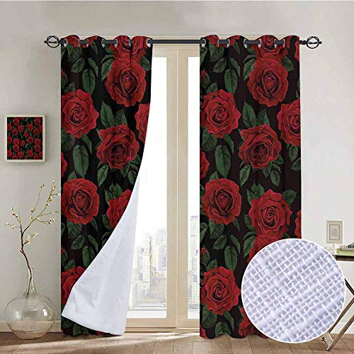 NUOMANAN Blackout Lined Curtains Rose,Valentines Day Retro Style Petals with Leaves Ornamental Growth Pattern,Ruby Hunter Green Black,Thermal Insulated,Grommet Curtain Panel 1 Pair 54