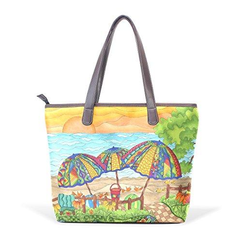 COOSUN Bolso asa grande bolsa de asas para mujer de Sunset Beach cuero de la PU L (33x45x13) cm muticolour