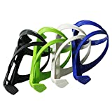 Single Idol Bicycle Bottle Cage Plastic Water Bottle Holder 4 Pack Easy to Install (Black White Blue Green)