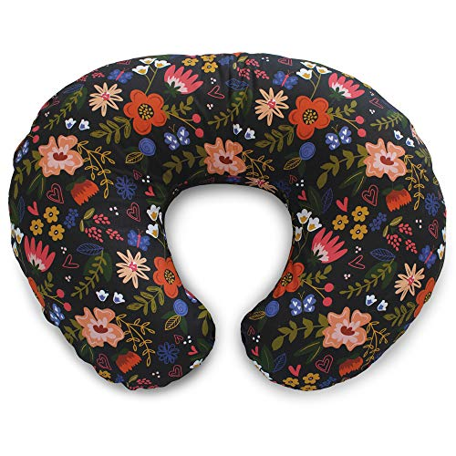 Boppy Original Nursing Pillow Slipcover, Cotton Blend Fabric, Black Floral