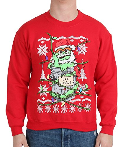 Sesame Street Men's Oscar The Grouch Bah Humbug Ugly Christmas Sweater