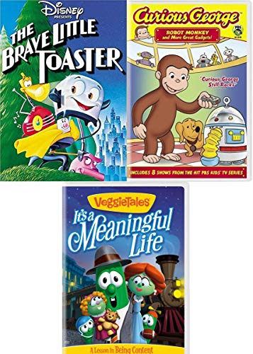Brave Monkey & Curious Toaster & Friends Fun Cartoon Kid Pack Disney Little Toaster & VeggieTales it's a Meaningful Life + PBS Curious George Robot Monkey and Gadgets adventures Triple Cartoon (Adventure Veggie Tales Pack)
