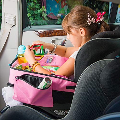 Pink Toddler Car Seat Travel Tray | +Bonus 2 in 1 Magnetic Doodle Board & Chalkboard | Kids Carseat Activity Tray, Lap & Play Tray for Car Seat and Stroller by Kidsmarter by KIDSMARTER (Image #8)
