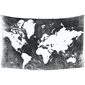 Amazon custom black and white earth world map tapestry wall custom black and white earth world map tapestry wall hanging global map wall decor art for gumiabroncs Images