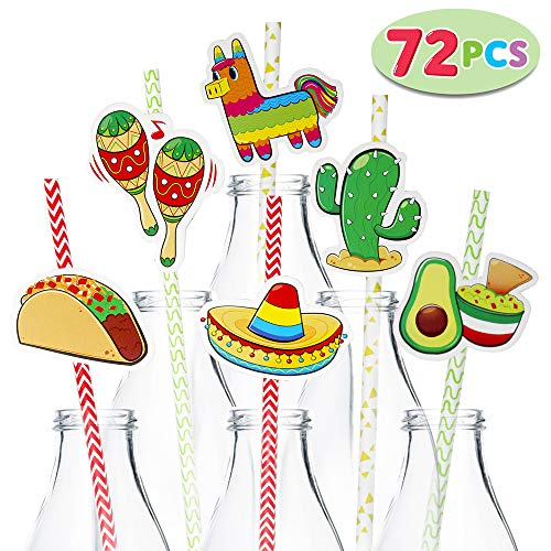 Mexican Straw - 72 Packs Cinco De Mayo Fiesta Paper Striped Straws Party Decoration for Fun Fiesta Taco Party Supplies, Luau Event Photo Props, Mexican Theme for Carnivals Festivals, Dia De Muertos, Coco Theme, Wedding, Birthdays and Party Favors