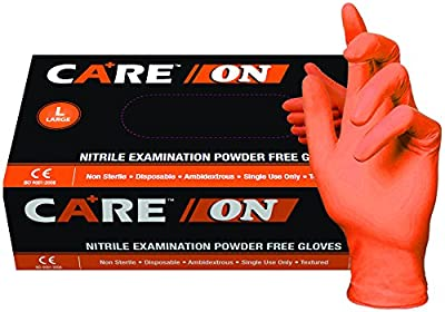 SKINTX CARE Nitrile Exam Gloves, Powder-Free, 6 mil, Palm Textured, Latex-Free, Non Sterile, Ambidextrous,Orange (Pack of 100 & 1000)