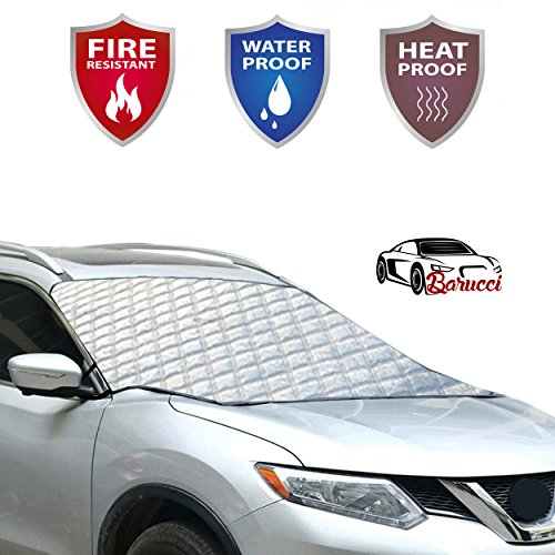 Car Windshield Snow Cover Waterproof /Windproof/Dustproof/Scratch And Fire Resistant Frost Guard Protector,Ice Cover for Most Cars/SUV,Design Protects Windshield and Wipers, No Need To Scrape AnyMore
