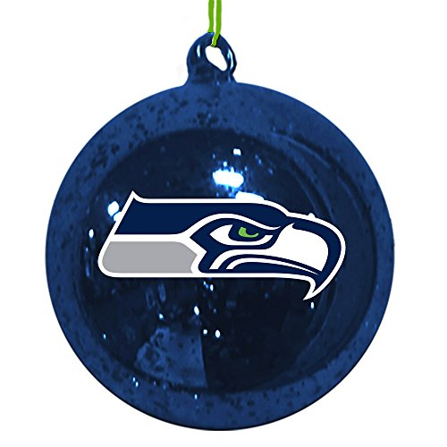 Seahawks Mercury Glass Ball Ornament