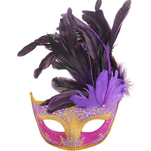 [Masquerade Mask, Coxeer Venetian Mask Mardi Gras Mask Halloween Costume Feather Mask] (Halloween Costumes With Mask)