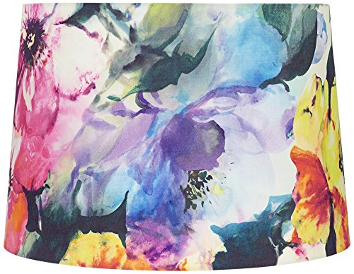 Watercolor Flowers Hardback Drum Lamp Shade 15x16x11 (Spider)