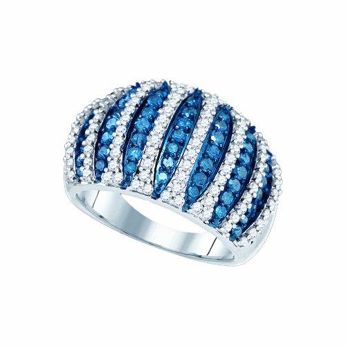 1 5/8 Carat (ctw) 10K White Gold Blue & White Round Cut Diamond Ladies Cocktail Right Hand Ring