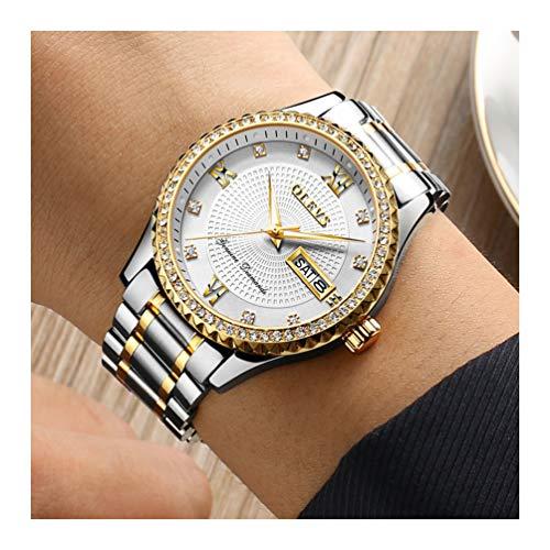 Date Diamond Wrist Watch - OLEVS Men's Luxury Diamond Wrist Watches on Sale Waterproof Luminous Date Day Watches Wristwatch Tungsten Steel Watch for Man Business Classic