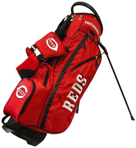 Team Golf MLB Cincinnati Reds Fairway Golf Stand Bag, Lightweight, 14-way Top, Spring Action Stand, Insulated Cooler Pocket, Padded Strap, Umbrella Holder & Removable Rain Hood