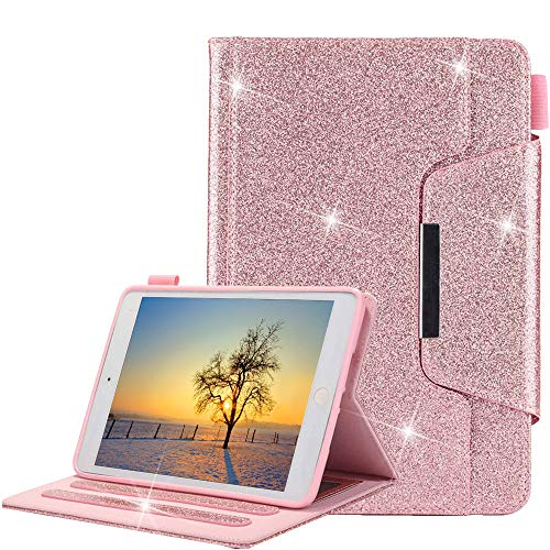 iPad Mini Funda, Apple iPad Mini 4/3/2/1 Estuche para Bolígrafo, Glitter Estuche para Cuero TPU para Interior [Cierre...