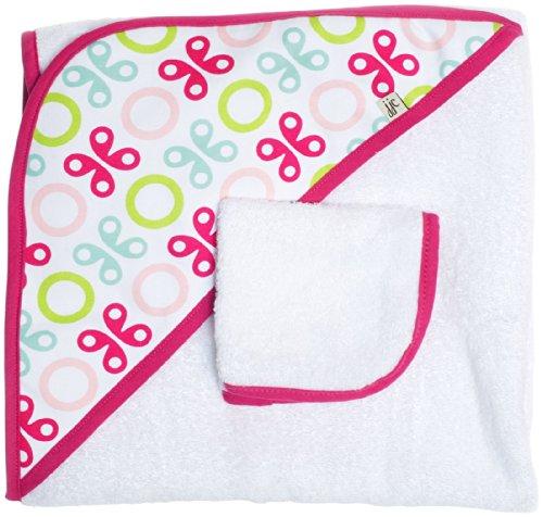 JJ Cole Deux-pièces de serviettes de bain à capuchon, papillon rose