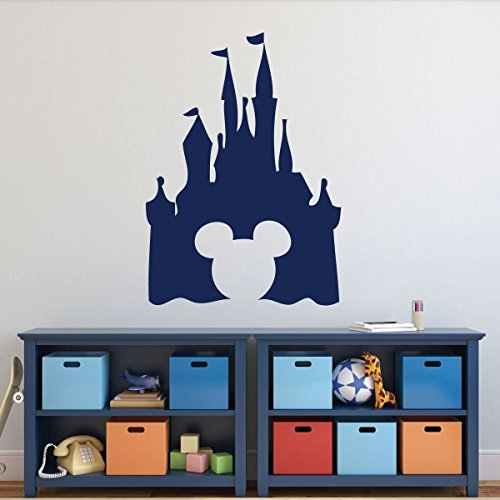 Disney Castle Silhouette Wall Decal - Peel and Stick Vinyl Sticker with Mickey Mouse Shaped Cutout for Nursery, Playroom, Kids' Bedroom - Choose from Purple, Pink, Blue, Black, White, and ()