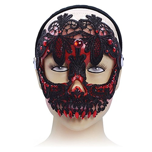 Red & Black Sugar Skull Mask On Headband