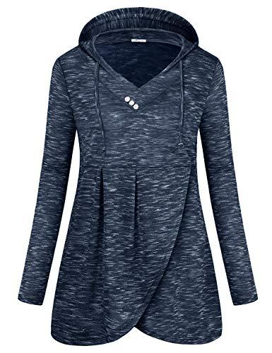 - SeSe Code Hoodie Tops,Pullover Long Sleeve Shirt Women Jerseys Sweatshirts Irregular Hem Button Stretchable Tulip Crossover Outerwear Blue Gray XLarge