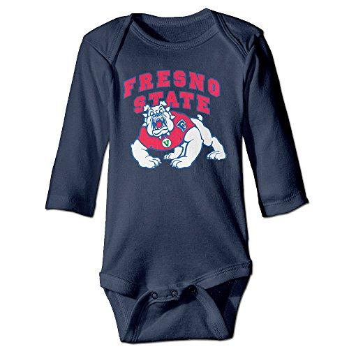 Baboy Fresno State Bulldo Long Sleeve Romper Bodysuit Outfits Navy 12 - Clothing Fresno Stores
