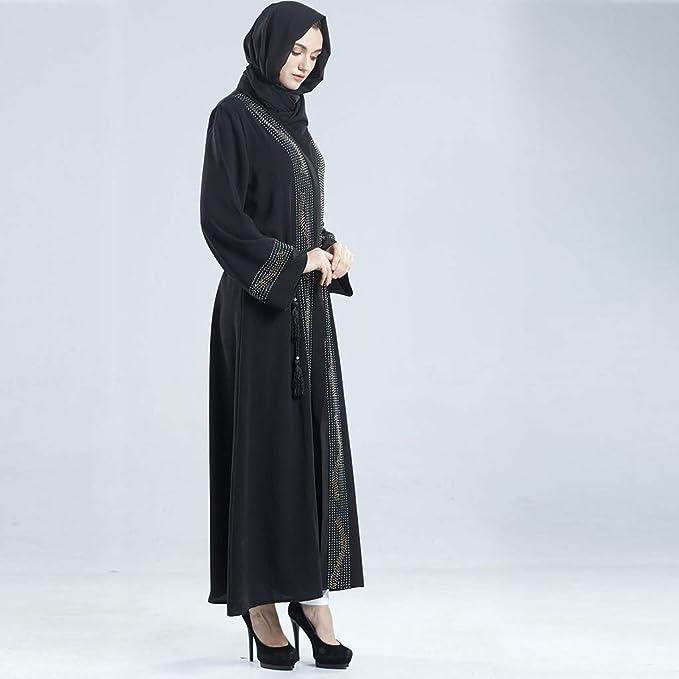 NPRADLA Large Falda Abaya Dubai musulmán Diamante Mujeres Frente Abierta Cardigan Bordado Vestido islámico Partido Elegante Moda Negro L: Amazon.es: Ropa y ...