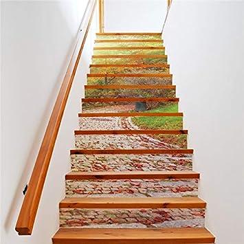 Creativo Diy 3D Escalera Pegatinas Mañana Piedra Camino Patrón Para Escaleras De La Casa Decoración Escalera Etiqueta De La Pared 13 Unids/Set: Amazon.es: Bricolaje y herramientas