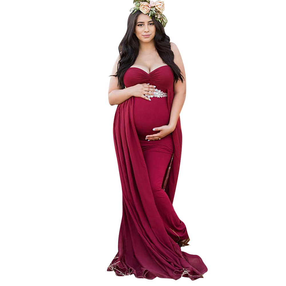 Women's Off Shoulder Sleeveless Maternity Dress for Photography Chiffon Cotton Maternity Gown for Photoshoot (Red, L)