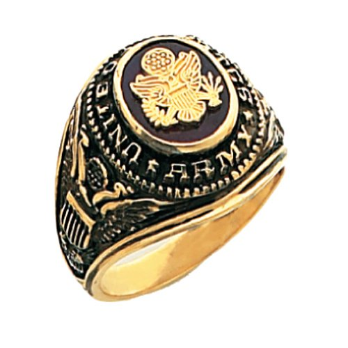 Men's 10k Yellow Gold United States US Army Military Open Back Ring Red Stone (Size - 10k Ring Army Gold