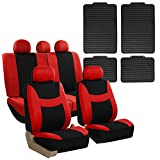 FH GROUP FB030115 Combo Set: Light & Breezy Cloth Seat Cover Set + F11300BLACK Floor mats, Red / Black- Fit Most Car, Truck, Suv, or Van