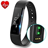 Fitness Tracker with Heart Rate monitor V2 Activity Watch Step Walking Sleep Counter Wireless Wristband Pedometer Exercise Tracking Sweatproof Sports Bracelet for Android and iOS, Black, Hembeer