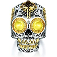 Yupha Fashion Men Jewelry Yellow Crystal Stone Skull Head Cross Punk Silver Ring Gift (14)