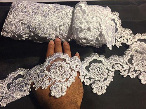 (White French Design Embroider And Corded Eyelash Trim-wedding-bridal-3.5