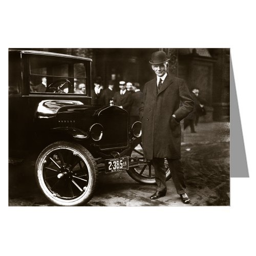 Price comparison product image Single Henry Ford In Front of A Model T Motor Car Greeting Card