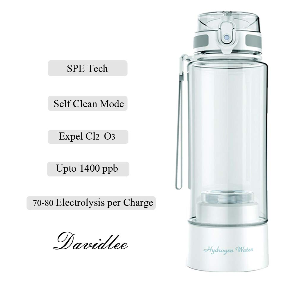 Davidlee Portable Hydrogen-Rich Generator Water Bottle PEM Technology Ionizer Mode 3 mins Self- cleaning Function High Concentration Discharge Ozone and Chlorine - 380ml F6