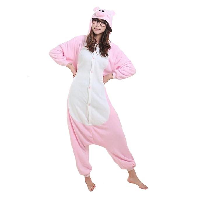 Fayear Unisex-Adultos Animal Pijamas Ropa de Dormir Cosplay Disfraces Homewear para Mujer Hombre Cerdo