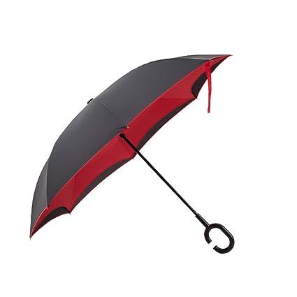 Paraguas abierto automático, paraguas invertido, 8 costillas, resistente y duradero, adecuado para