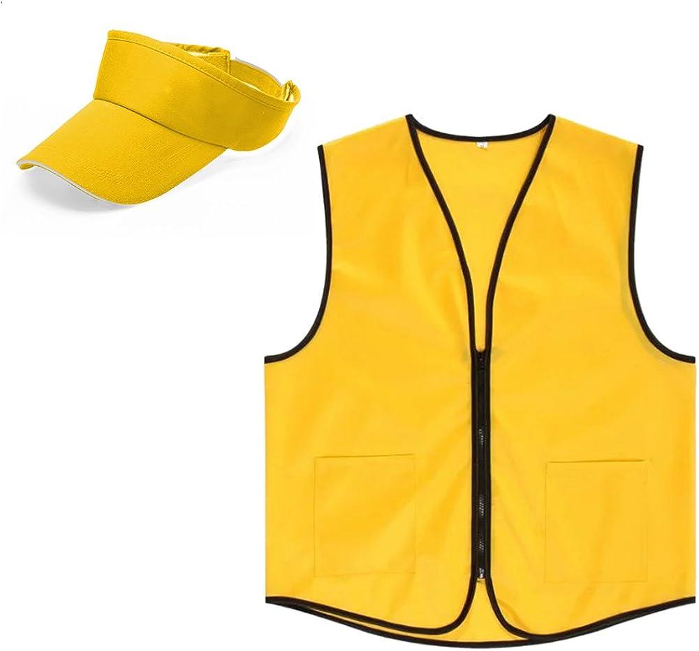 TOPTIE Unisex Uniform Set, Zipper Closure Vest and Visor Cap, Outdoor Equipment