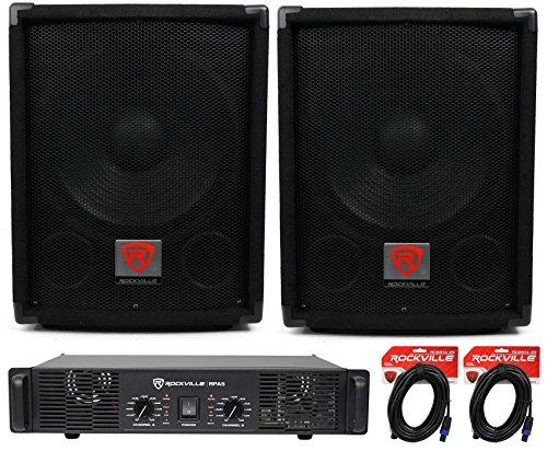 (2) Rockville SBG1128 12'' 1200W Pro DJ Subwoofers + RPA4 1000w Amplifier+Cables by Rockville