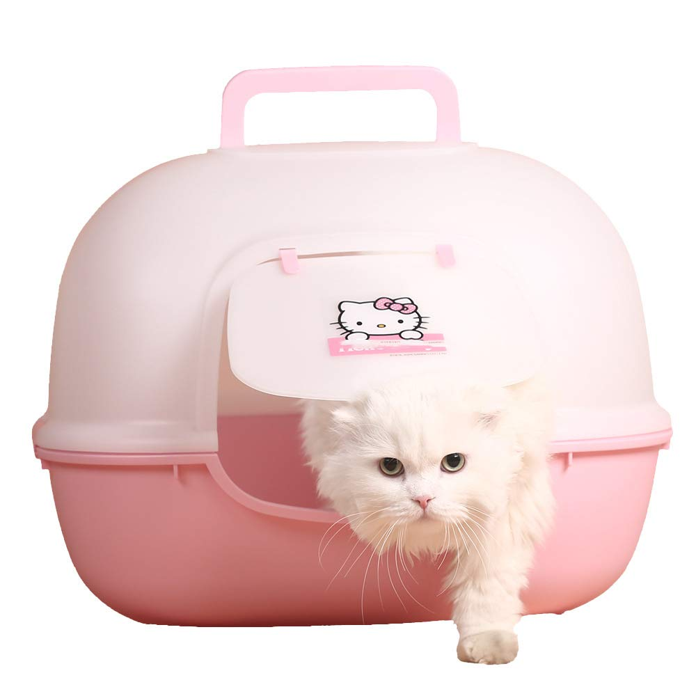 GCSEY Hooded Cat Litter Pan Whole Sealing Super Large Plastic Toilet Box Portable & Anti-Stink Pet Supply with Deodorant Holder