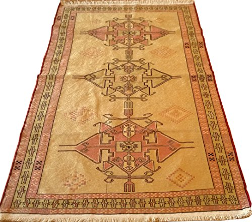 Handwoven Silk Wool Area Rug Kilim 6.16 X 3.82 ft.