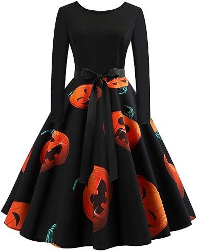 Vestiti Eleganti Con Maniche Lunghe.Abito Da Donna Halloween Con Zucca Stampa Vestiti Eleganti Di