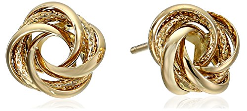 14k Yellow Gold Knot Stud Earrings by Amazon Collection