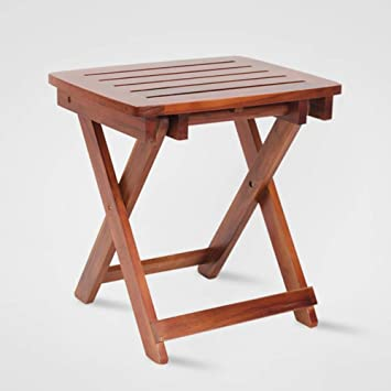 Ysyd Wood Bath Shower Foldable Seat Teak Spa Shower Chair Without Arms Back Bath Bench Stool With