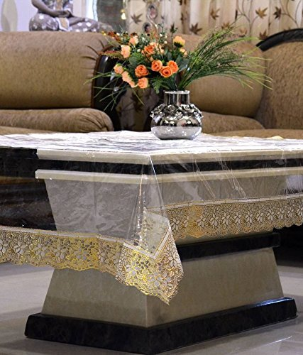 Kuber Industries Transparent Center Table Cover 4 Seater 40x60 Inches (Golden Lace) (Standard Size Of 4 Seater Dining Table)
