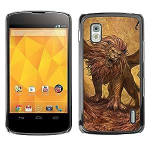 Shell-Star Arte & diseño plástico duro Fundas Cover Cubre Hard Case Cover para LG Google NEXUS 4 / Mako / E960 ( Lion Roaring Art Wild Animal Big Cat Painting )