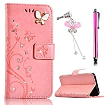 Sunroyal Bling Diamond 3D Glitter Pearl Luxury Leather Wallet Flip Magnet Stand Case with Card Slots Hard Plastic Back Cover for HuaWei P8 Lite(2017) with Diamond Anti-Dust Plug&Metal Stylus